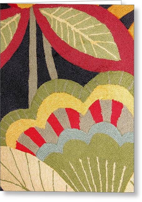 Photograph Tapestries - Textiles Greeting Cards - Multi-colored Flowers Leaves Textile Greeting Card by Janette Boyd