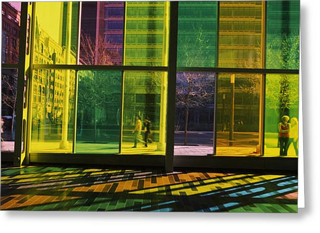 Convention Center Greeting Cards - Multi-colored Glass In A Convention Greeting Card by Panoramic Images