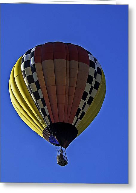 Hot Air Greeting Cards - Multi-colored hot air balloon Greeting Card by Andy Crawford