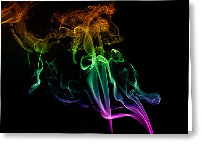 Multi Colored Smoke Abstract On Balck Greeting Card by Vishwanath Bhat