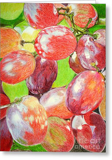 Grape Vines Drawings Greeting Cards - Multi Coloured Grapes Greeting Card by Yvonne Johnstone