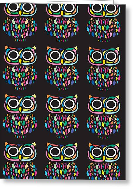 Psychedelic Owl Greeting Cards - Multi-owlets Greeting Card by Mathew Luebbert