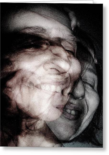 Self-portrait Pyrography Greeting Cards - Multi self  Greeting Card by Danica Radman