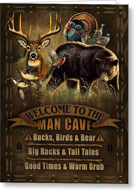 Masculine Greeting Cards - Multi Specie Man Cave Greeting Card by JQ Licensing