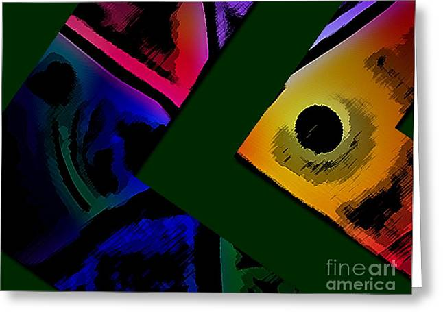 Green Surreal Geometry Greeting Cards - Multicolor Abstract Geometry Greeting Card by Mario  Perez