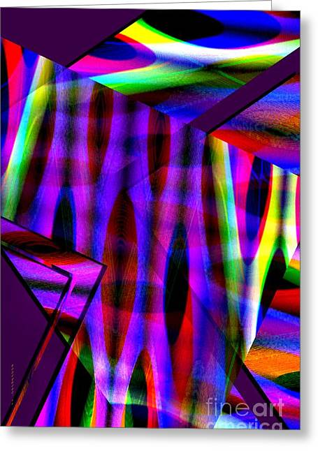 Textures Greeting Cards - Multicolor Geometric Lines Art Greeting Card by Mario  Perez