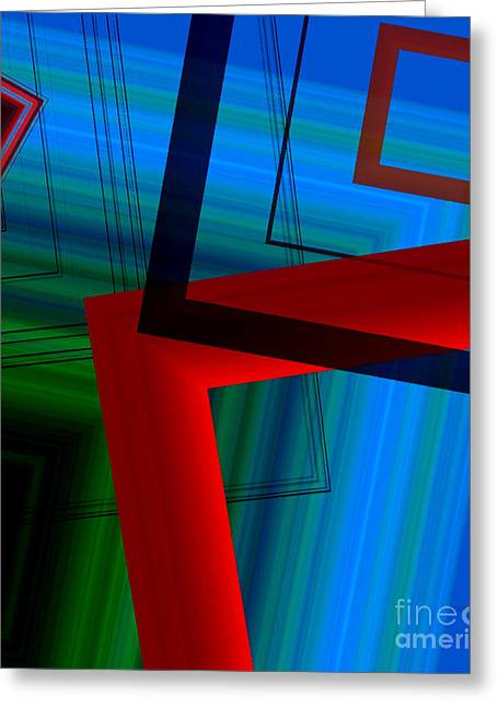 Multicolor Geometric Shapes In Digital Art Greeting Card by Mario Perez
