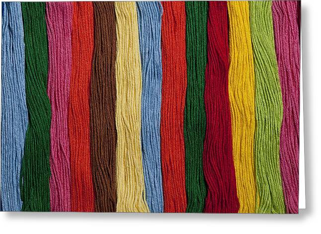 Textile Photographs Greeting Cards - Multicolored embroidery thread in rows Greeting Card by Jim Corwin