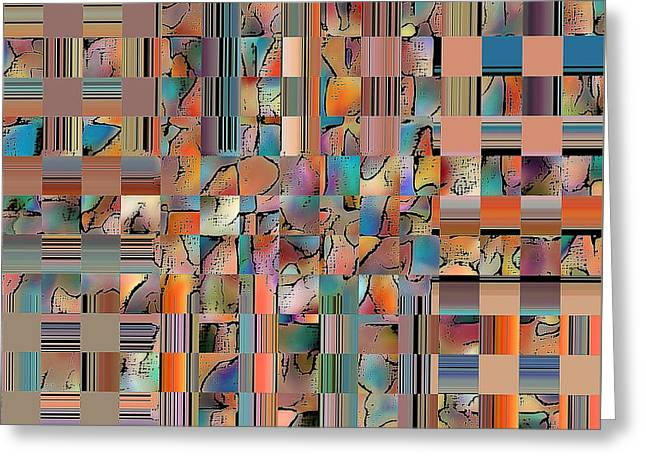Modern Digital Art Digital Art Greeting Cards - Multicolored Fractured Reality Greeting Card by Ben and Raisa Gertsberg