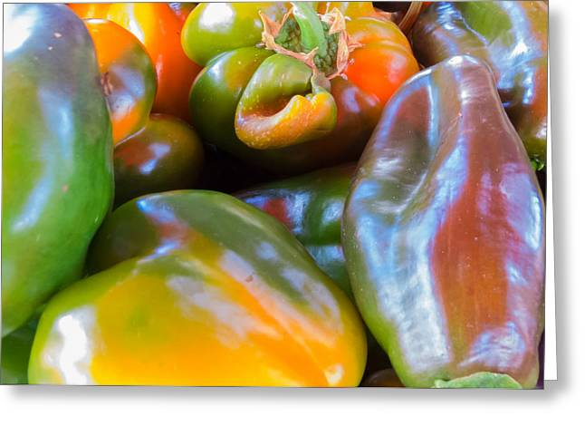 Farm Stand Greeting Cards - Multicolored Peppers Greeting Card by Susan Colby