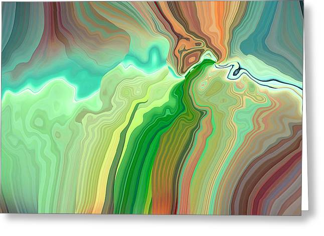 Blue Green Wave Greeting Cards - Multicolored Short Greeting Card by Ruth Palmer