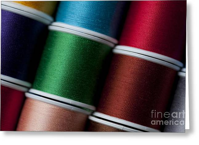 Textile Photographs Greeting Cards - Multicolored spools of thread Greeting Card by Jim Corwin