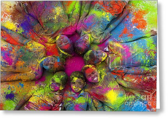 Face Paint Greeting Cards - Multicoloured boys Greeting Card by Tim Gainey