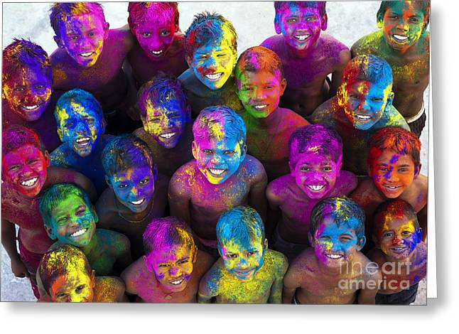 Face Paint Greeting Cards - Multicoloured Happy Faces Greeting Card by Tim Gainey