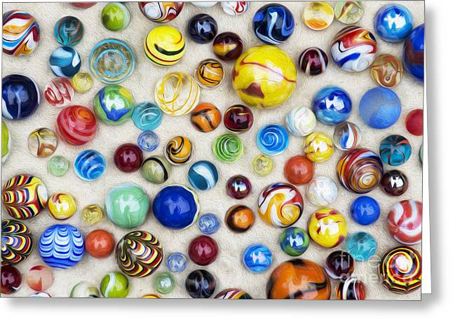 Multicoloured Marbles Greeting Card by Tim Gainey