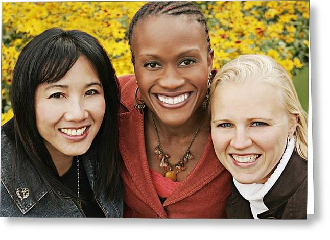 Images Of Woman Greeting Cards - Multiethnic Portrait Of Three Women Greeting Card by Christine Mariner