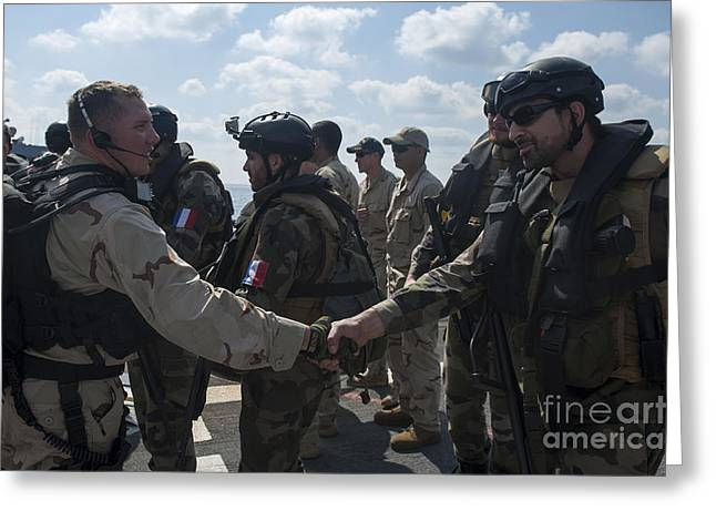 Shaking Hands Greeting Cards - Multinational Forces Hake Hands Greeting Card by Stocktrek Images