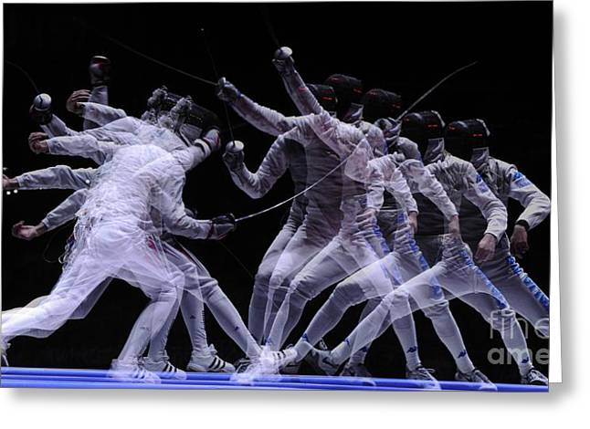 Fencing Greeting Cards - Multiple Exposure Of Fencers Greeting Card by Ria Novosti