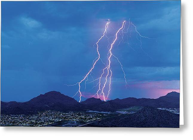 Multiple Lightning Strikes At Sunset Greeting Card by Thomas Wiewandt