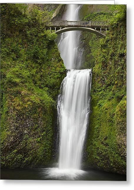 Waterfall Photography Greeting Cards - Multnomah Falls Greeting Card by Andrew Soundarajan
