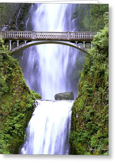 Crossover Greeting Cards - Multnomah Falls Bridge Greeting Card by Randy Bradley