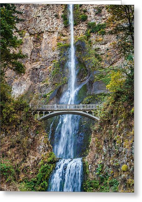 Wet Greeting Cards - Multnomah Falls - Waterfall Photograph by Duane Miller Greeting Card by Duane Miller