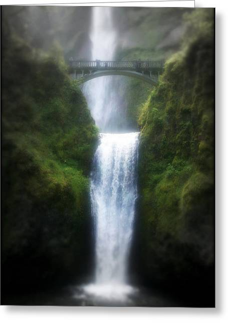 Hiking Mixed Media Greeting Cards - Multnomah Falls Greeting Card by Heather L Giltner