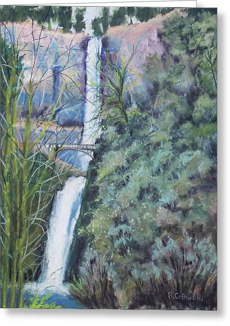 Waterfall Pastels Greeting Cards - Multnomah Falls Greeting Card by Rosemarie Caffarelli