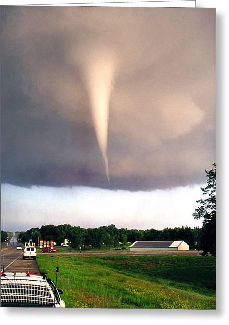 Jasonpolitte Greeting Cards - Mulvane Tornado with Storm Chasers Greeting Card by Jason Politte