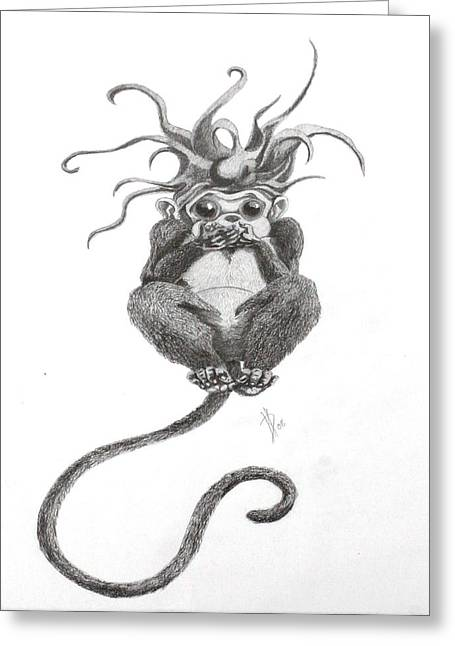 Jester Greeting Cards - Mumble Evil Drawing Greeting Card by Kd Neeley