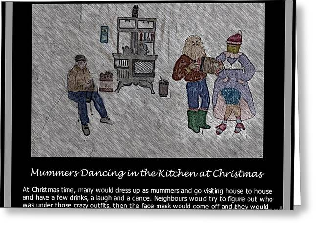 Old And In The Way Greeting Cards - Mummers Dancing in the Kitchen at Christmas Greeting Card by Barbara Griffin