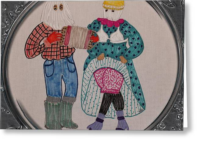 Mitt Drawings Greeting Cards - Mummers Dancing - Porthole Vignette Greeting Card by Barbara Griffin