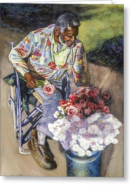 St Petersburg Florida Paintings Greeting Cards - Mums and Roses Greeting Card by Kevin Thomas