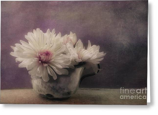 Mums In A Cup Greeting Card by Priska Wettstein