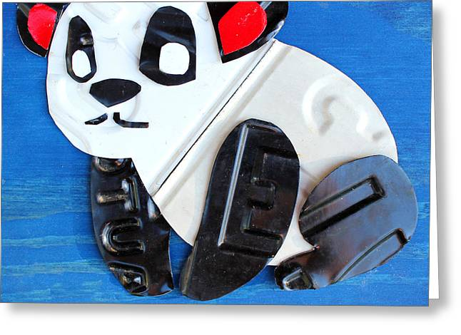 Jungle Animals Greeting Cards - Munch the Panda License Plate Art Greeting Card by Design Turnpike