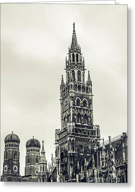 Marienplatz Greeting Cards - Munich - ancient Greeting Card by Hannes Cmarits
