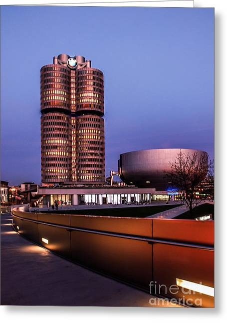 Hannes Cmarits Greeting Cards - munich - BMW office - vintage Greeting Card by Hannes Cmarits
