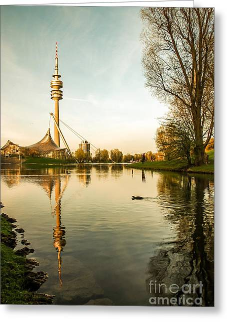 Hannes Cmarits Greeting Cards - Munich - Olympiapark - Vintage Greeting Card by Hannes Cmarits