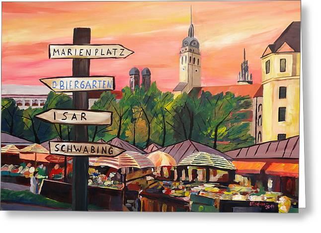 Impressionistic Market Greeting Cards - Munich Bavaria Viktualienmarkt with Signposts - a bustling Market Scene Greeting Card by M Bleichner