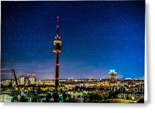 Hannes Cmarits Greeting Cards - Munich City Nights - Olympiapark Greeting Card by Hannes Cmarits