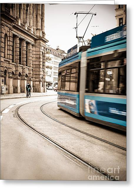 Hannes Cmarits Greeting Cards - Munich city traffic Greeting Card by Hannes Cmarits