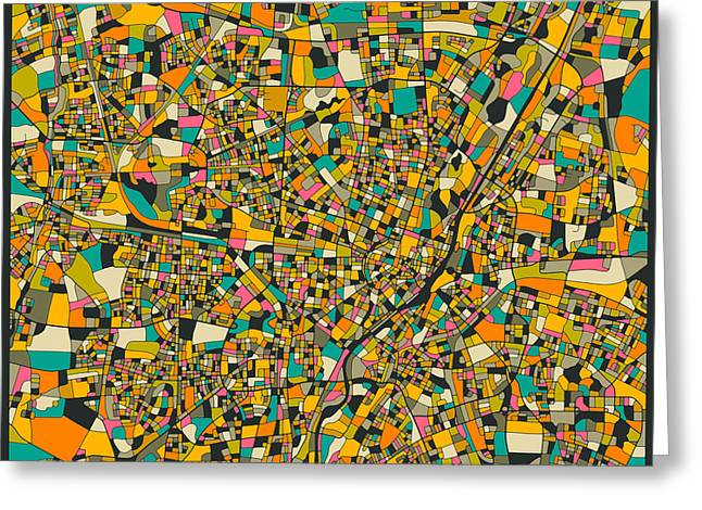 Munich Greeting Cards - Munich Map Greeting Card by Jazzberry Blue