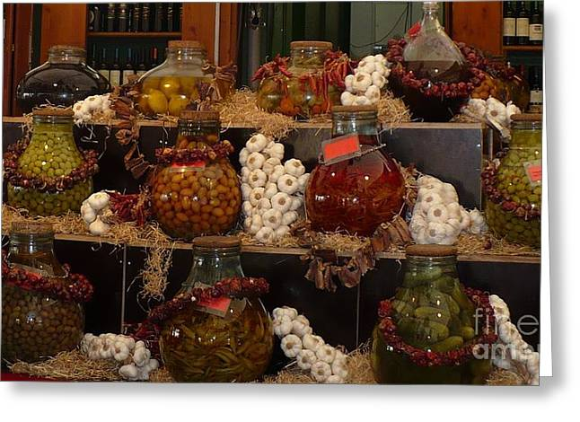 European Markets Greeting Cards - Munich Market with Pickles and Olives Greeting Card by Carol Groenen
