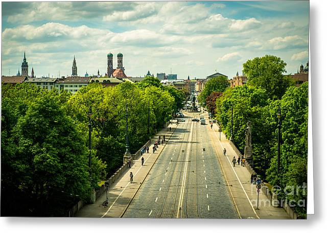 Frauenkirche Greeting Cards - Munich - Maximiliansbruecke Greeting Card by Hannes Cmarits