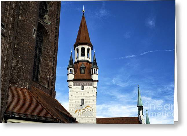 Deutschland Greeting Cards - Munich Red Roof Design Greeting Card by John Rizzuto