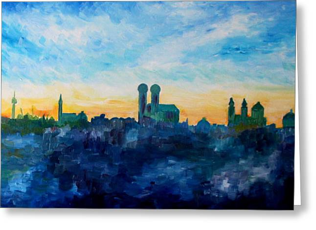 Munich Skyline With Church Of Our Lady Greeting Card by M Bleichner