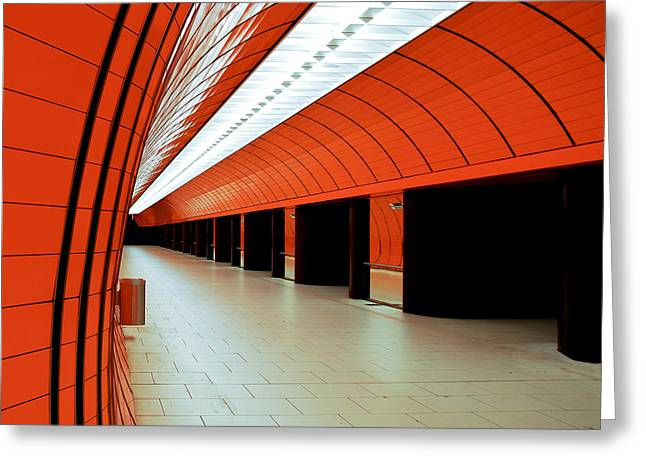 U-bahn Photographs Greeting Cards - Munich subway I Greeting Card by Hannes Cmarits