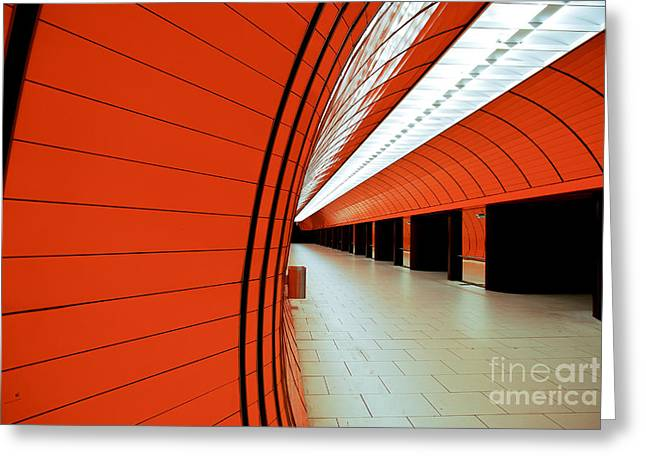 U-bahn Photographs Greeting Cards - Munich subway II Greeting Card by Hannes Cmarits