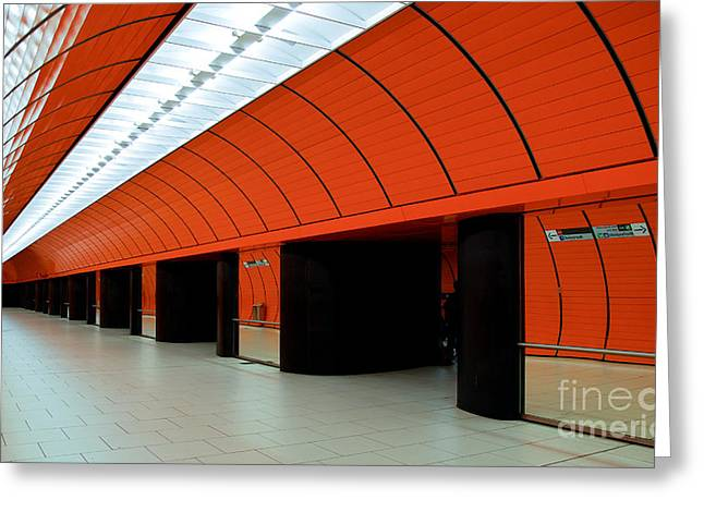 U-bahn Photographs Greeting Cards - Munich subway III Greeting Card by Hannes Cmarits