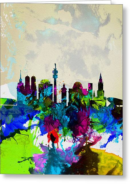 Panoramic Greeting Cards - Munich Watercolor Skyline Greeting Card by Naxart Studio